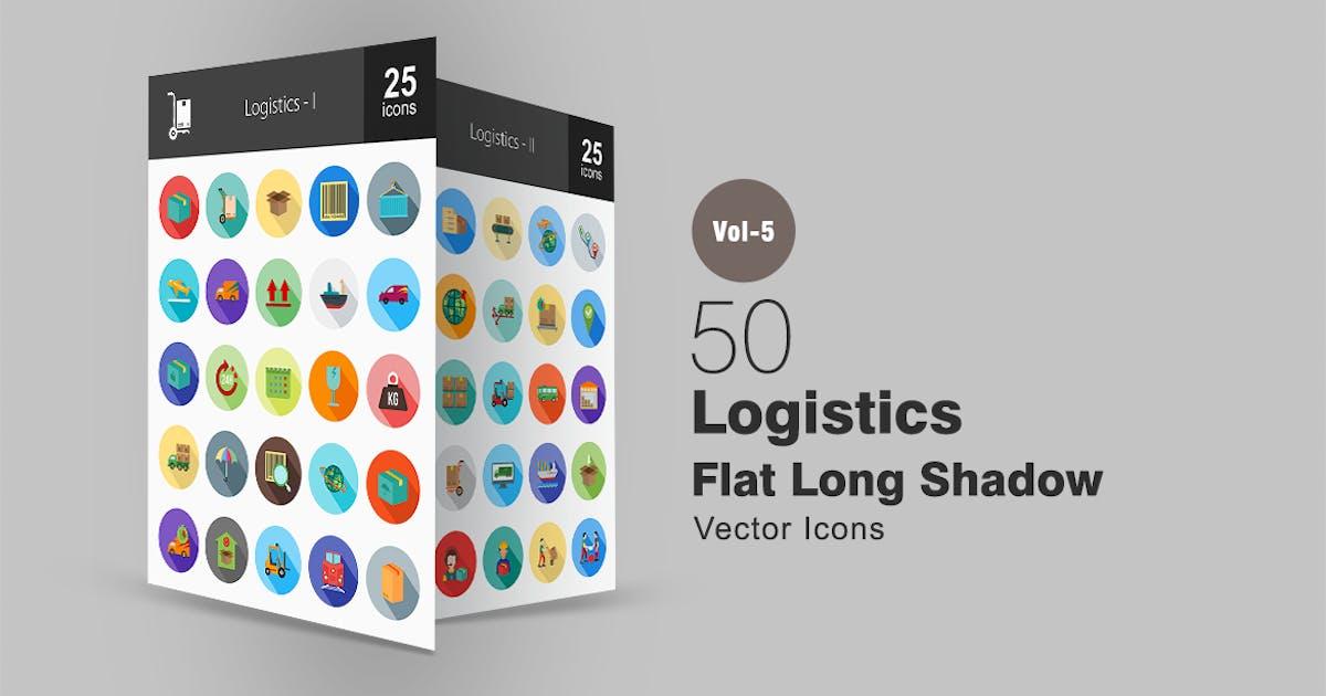 50 Logistics Flat Shadowed Icons by IconBunny