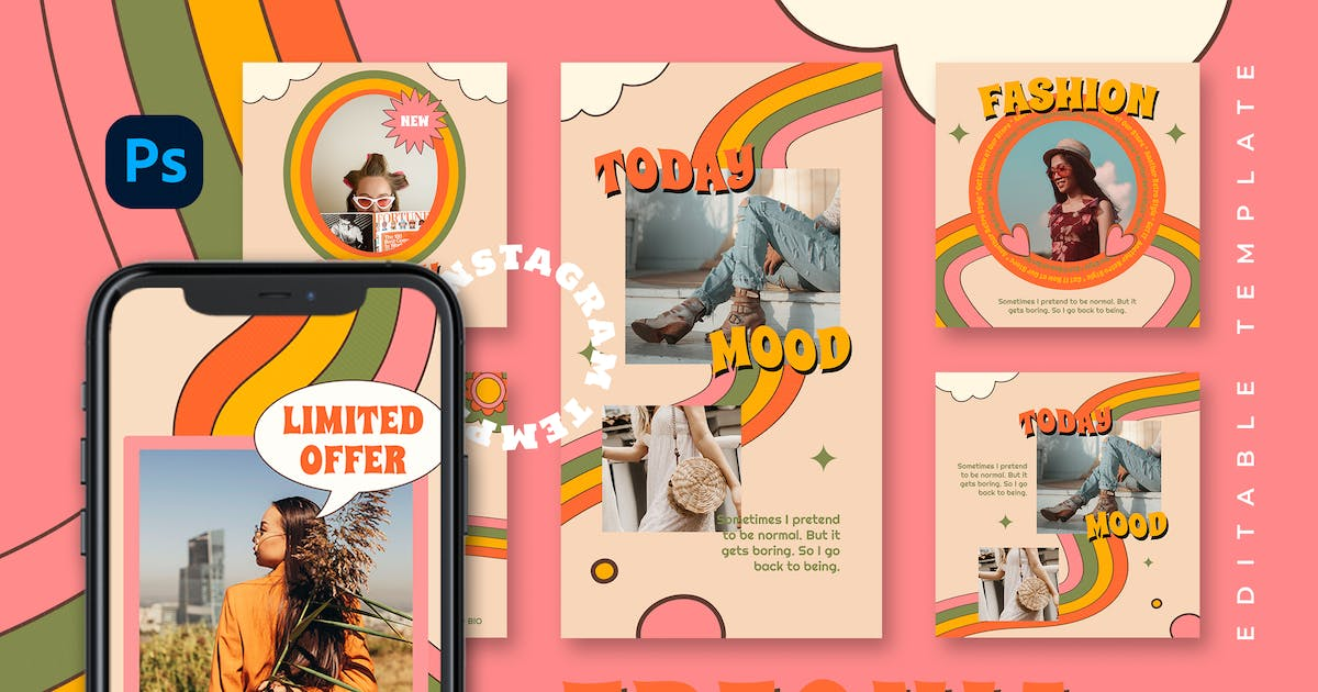 Download Freonia - Retro Instagram Stories and Post by TanahAirStudio