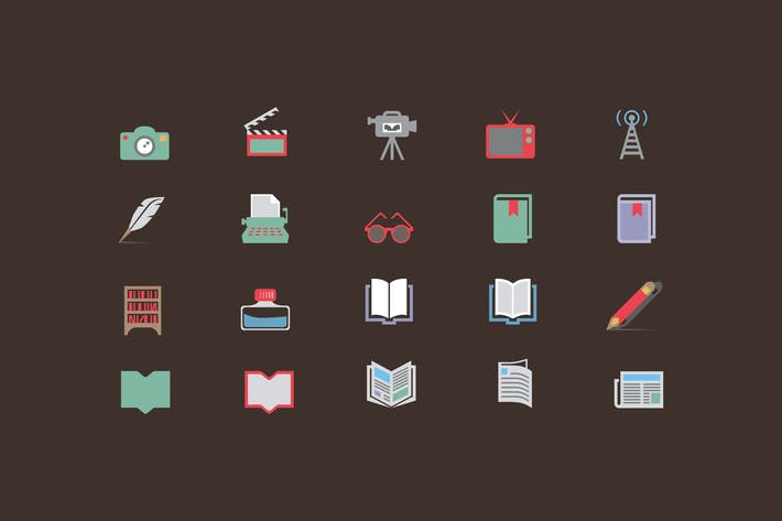Thumbnail for Media & Literature Color Icons