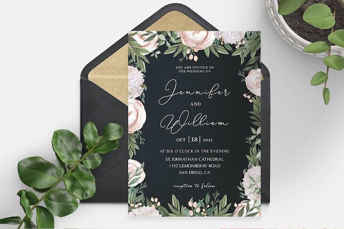 Thumbnail for Élégant modèle d'invitation de mariage floral