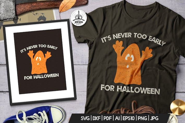 Cover Image For Halloween-Ghost Print T-Shirt, Retro Abzeichen