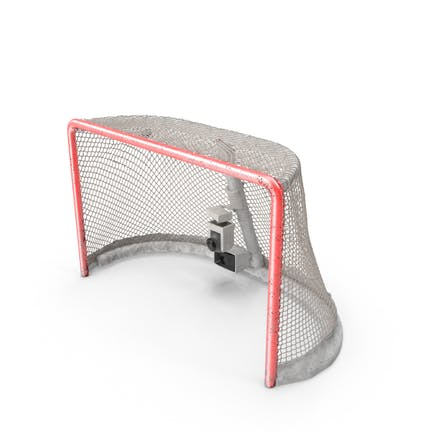 Ice Hockey Goal With Puck Stretching Net Top