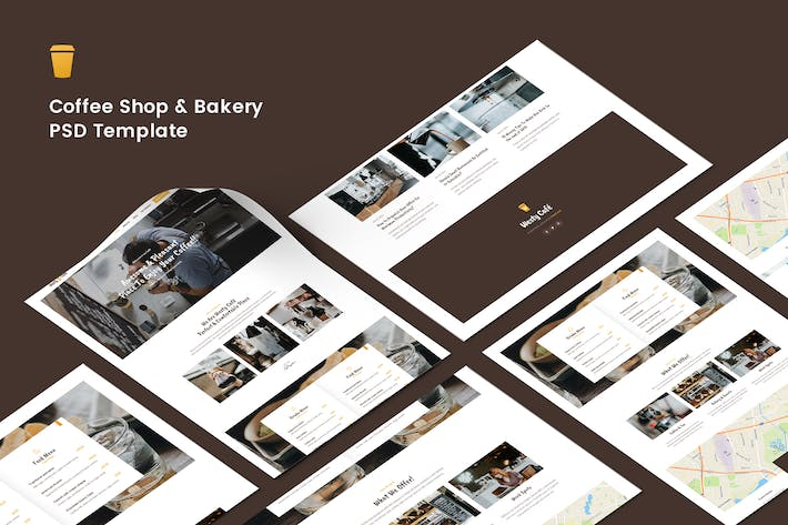 Thumbnail for Cafe, Coffee Shop and Bakery PSD Template