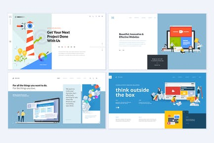 Set of creative website template designs
