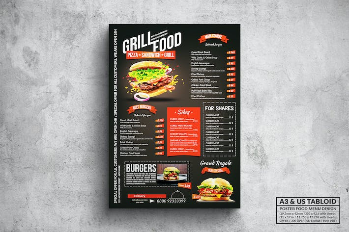 Thumbnail for Elegant Grill Poster Food Menu - A3 & US Tabloid