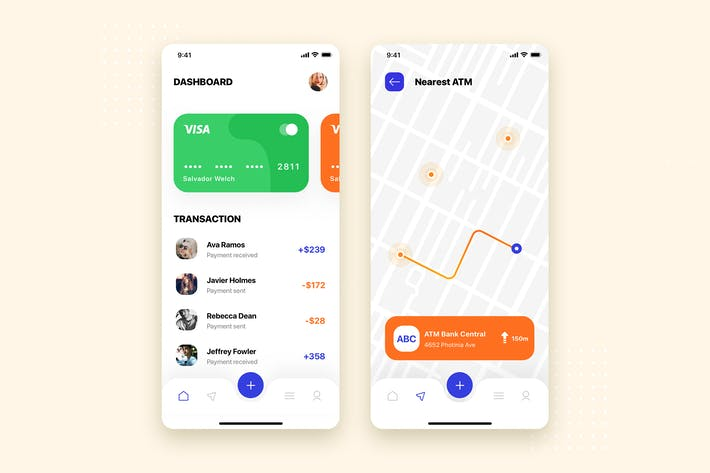 Thumbnail for Map Navigation Mobile App UI Kit Template