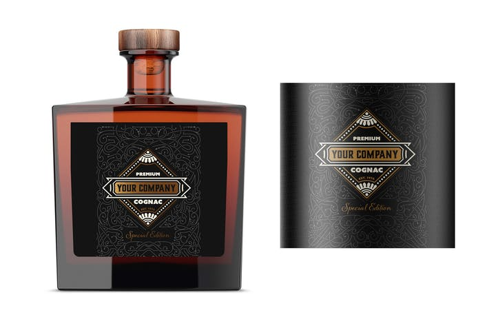 Vintage-Liquor-Flaschen-Verpackungs-Layout
