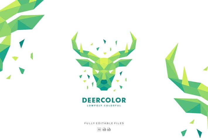 Thumbnail for Deer Head Poly Colorful Logo