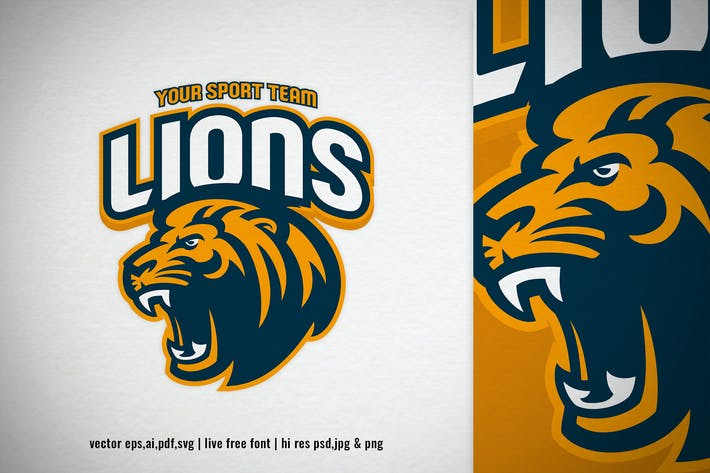 Thumbnail for lion head mascot for sport and e-sport logo