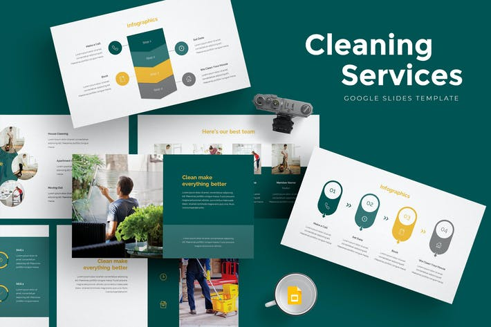 Thumbnail for Cleaning Services Google Slides Template