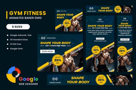 Fitness Google Adwords HTML5 Banner Ads GWD