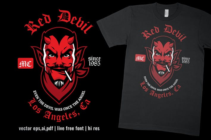 Thumbnail for red devil motorcycle club design