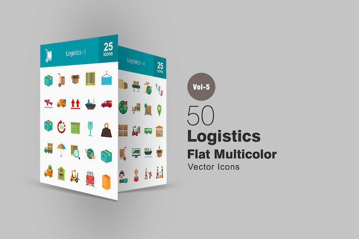 Thumbnail for 50 Logistics Flat Multicolor Icons