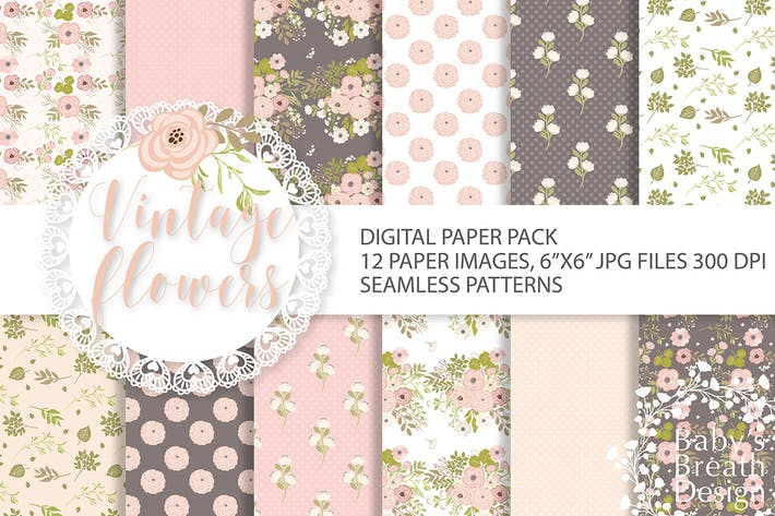 Thumbnail for Vintage-Blumen-Digital-Papier-Paket