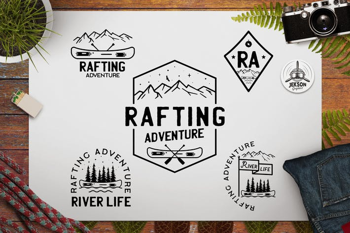 Thumbnail for Rafting Adventure Logos, Camping Badges, TShirt