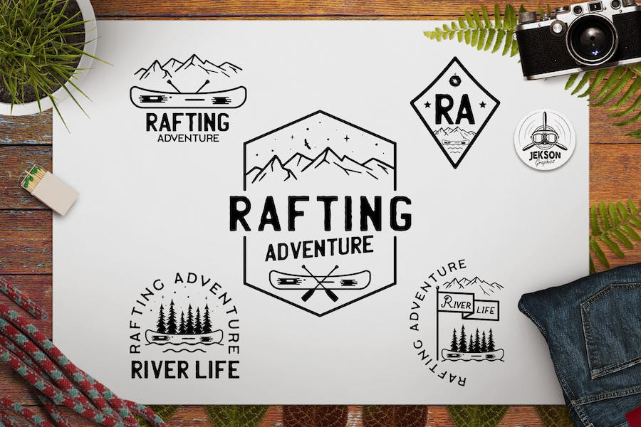 Rafting Adventure Logos, Camping Badges, TShirt