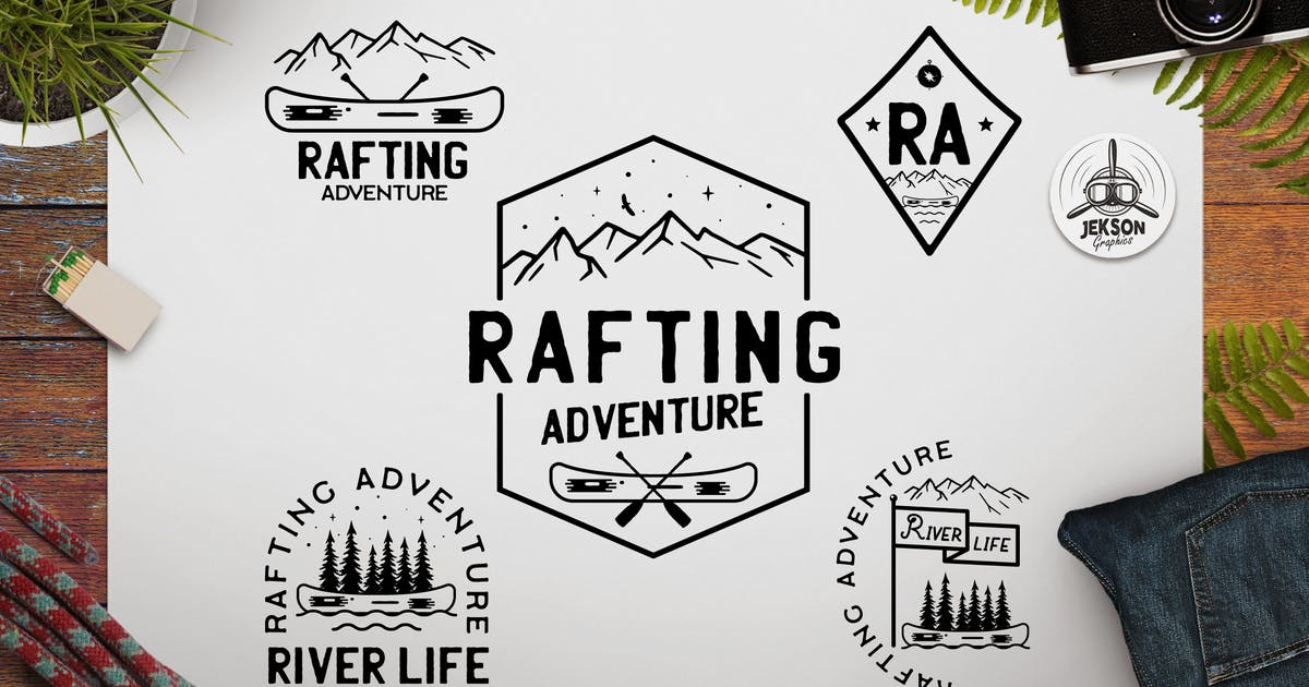 Download Rafting Adventure Logos, Camping Badges, TShirt by JeksonJS