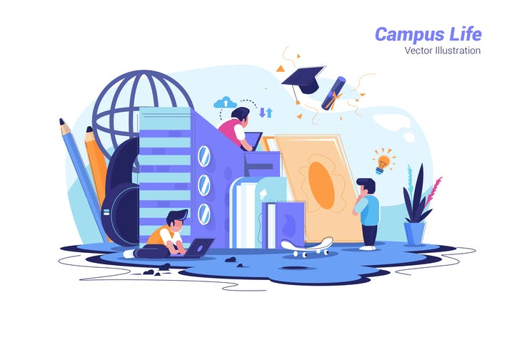 Thumbnail for Campus Life - Vector Illustration