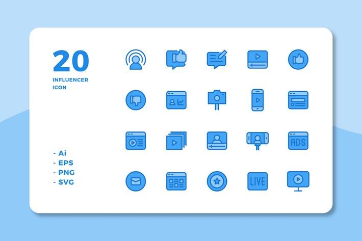 Thumbnail for 20 Influencer Icons (Lineal Color)