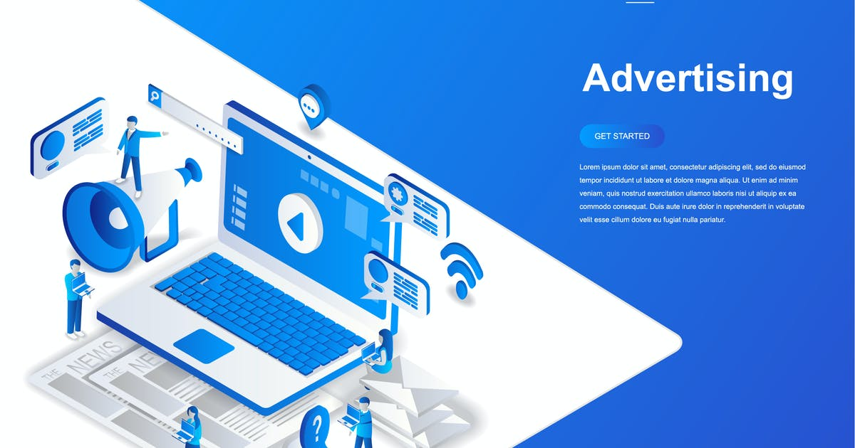 Download Advertising and Promo Isometric Concept by alexdndz