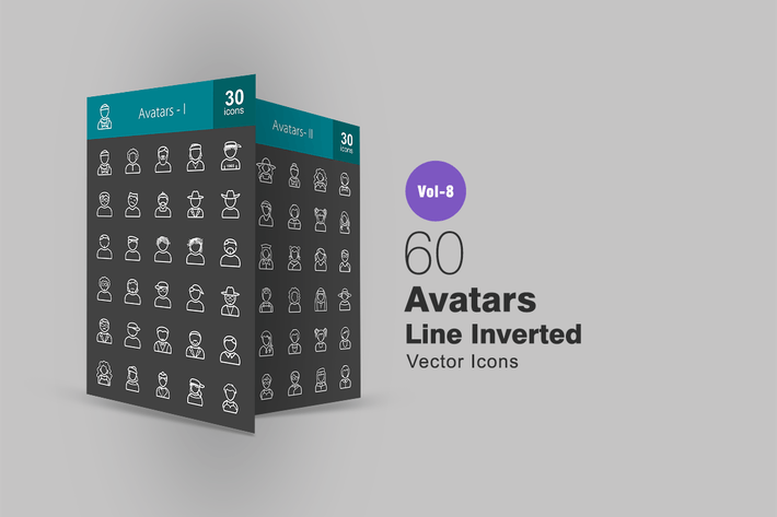 Thumbnail for 60 Avatars Line Inverted Icons