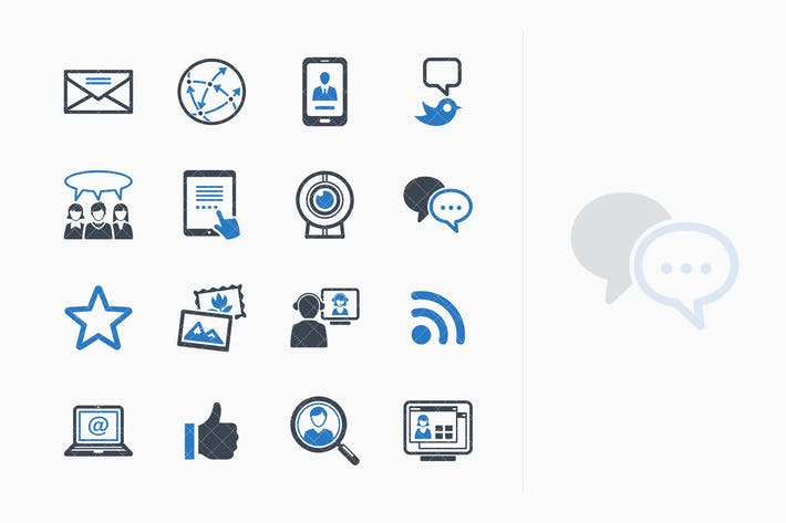 Cover Image For Social Media Icons Set 1 - Blue Series