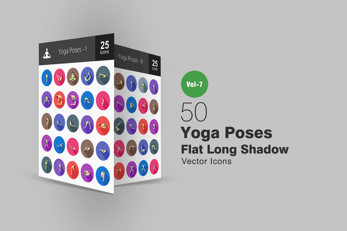 Thumbnail for 50 Yoga Poses Flat Shadowed Icons