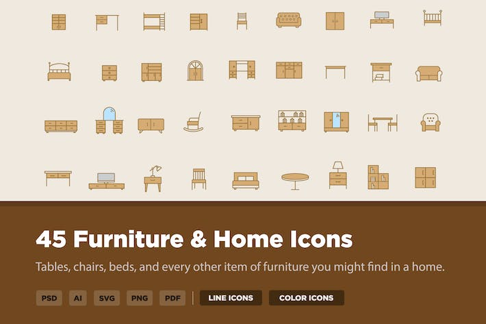 Thumbnail for 45 Furniture and Home Icons