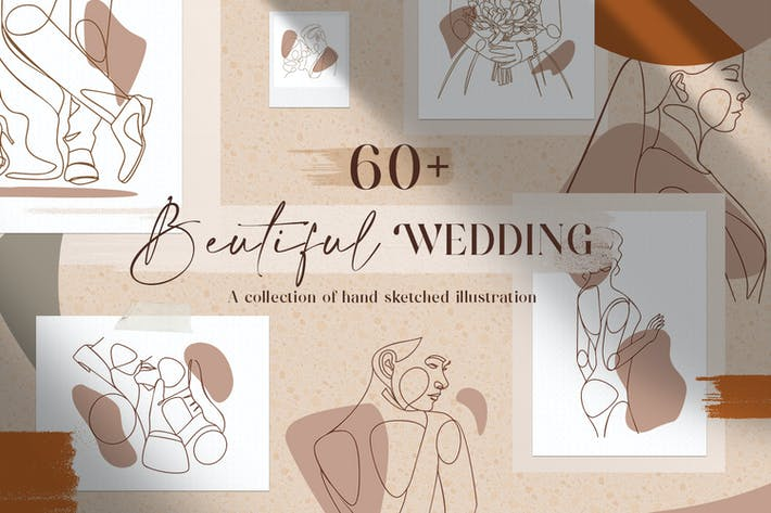 Thumbnail for Beautiful Wedding Illustration+Logo Line Art