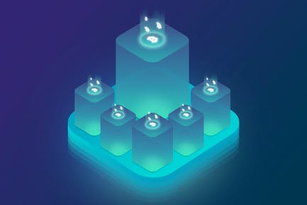 Isometric Ico Cryptocurrency Server Illustrations