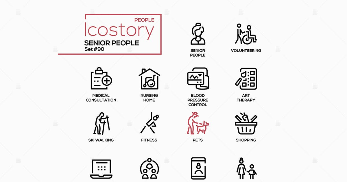Download Senior people line design style icons set by BoykoPictures