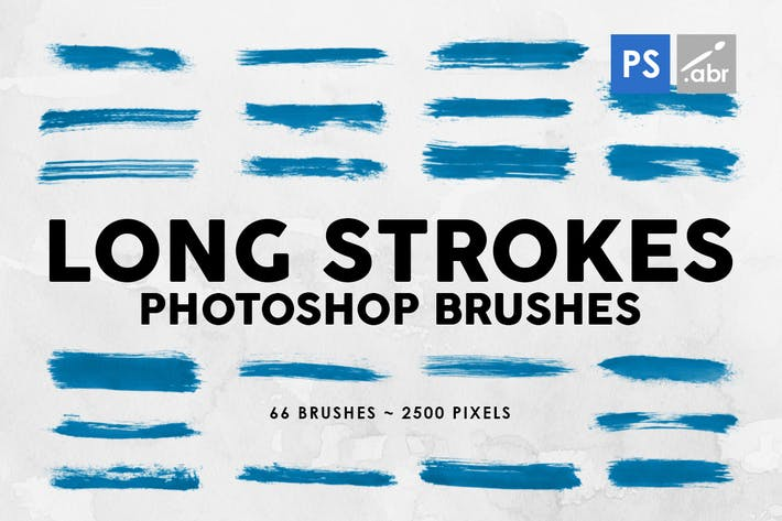 Thumbnail for 66 Long Ink Strokes Photoshop Stamp Brushes