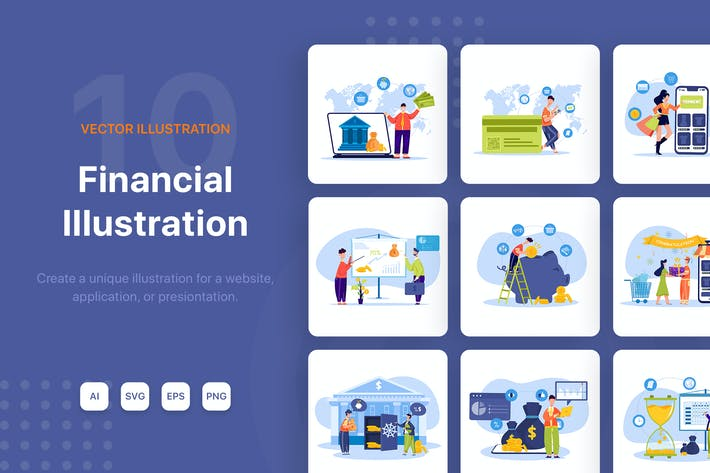 Thumbnail for Financial Illustrations Pack