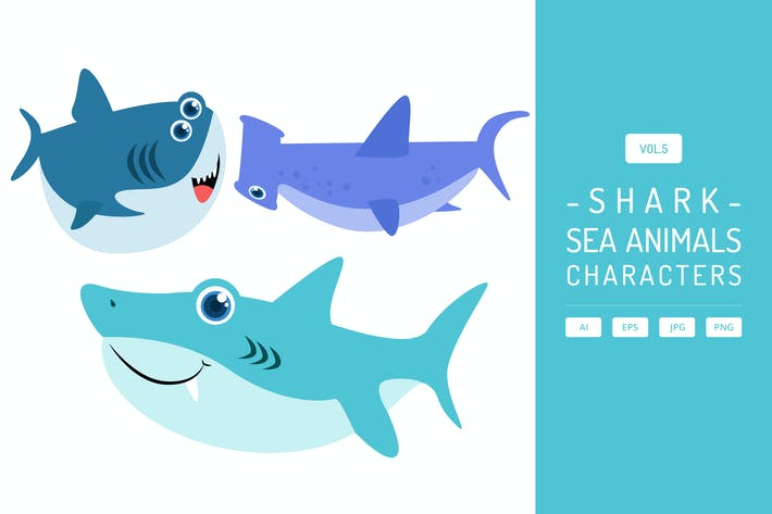 Thumbnail for Cute Shark - Sea Animals Characters Vol.5