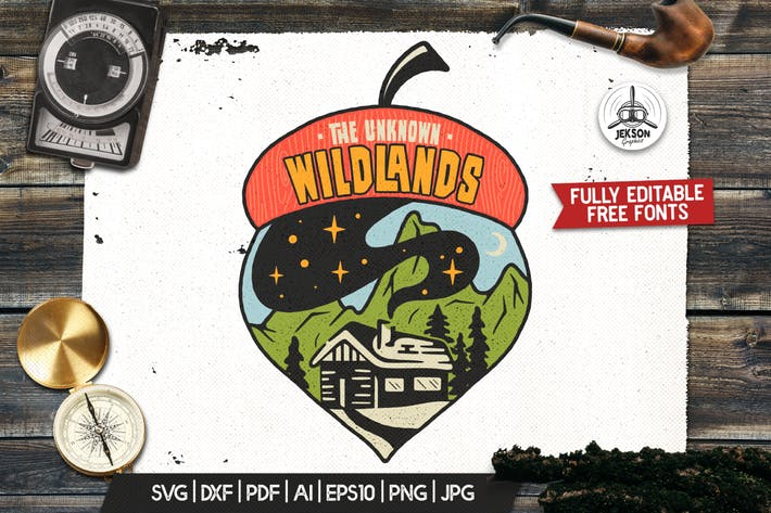 Vintage Wilderness Logo, Travel Badge Camp Patch