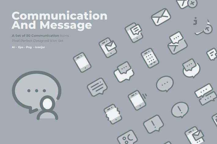 Thumbnail for 50 Communication Icons  -  Two Tone Style