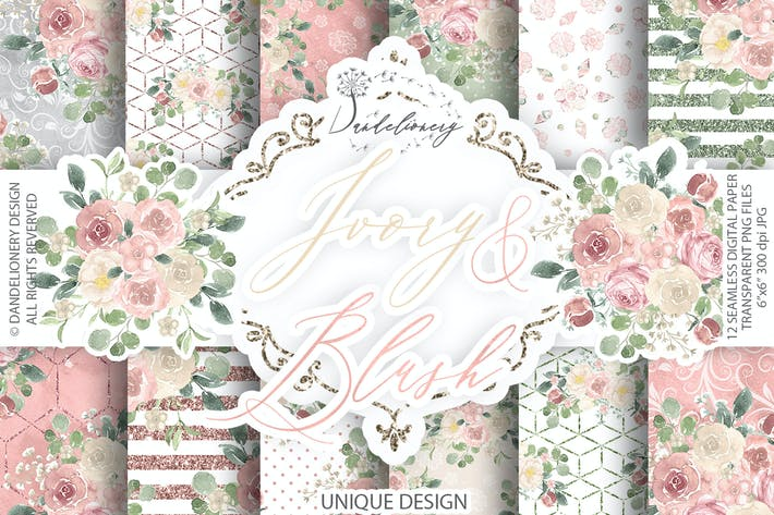 Thumbnail for Watercolor Ivory and Blush digital paper pack