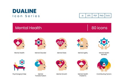 80 Mental Health Icons - Dualine Flat Series