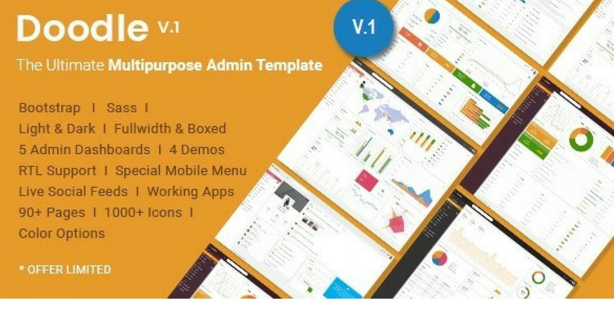 Download Doodle - The Ultimate Multipurpose Admin Template by Hencework