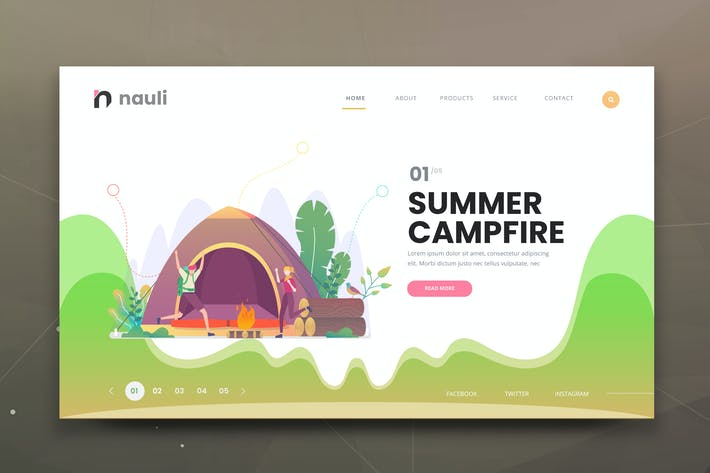 Thumbnail for Summer Campfire Web PSD and AI Vector Template