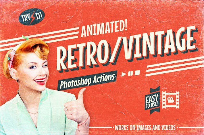 Thumbnail for Animated Retro Vintage Film - Photoshop Actions