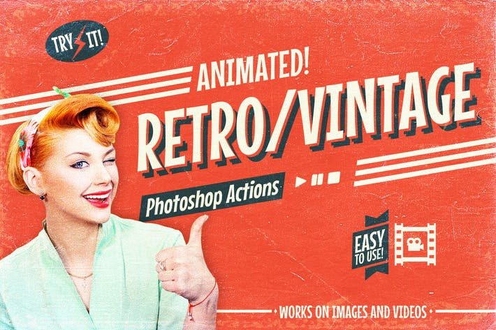 Cover Image For Animated Retro Vintage Film - Photoshop Actions