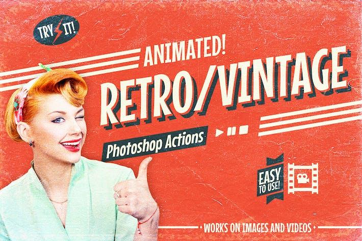 Thumbnail for Filme Vintage Retro Animado - Ações do Photoshop