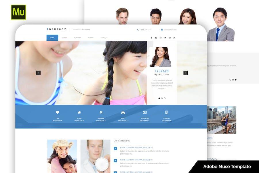 Plantilla de Adobe Muse para servicios de seguros