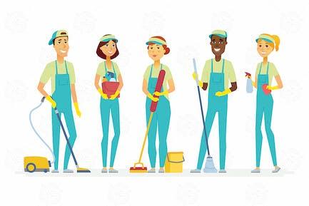 Personal de limpieza - ilustración aislada