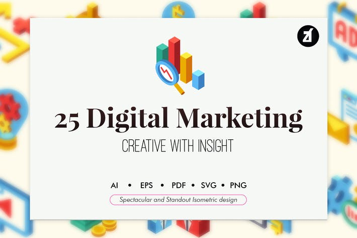 Thumbnail for 25 Digital marketing isometric elements