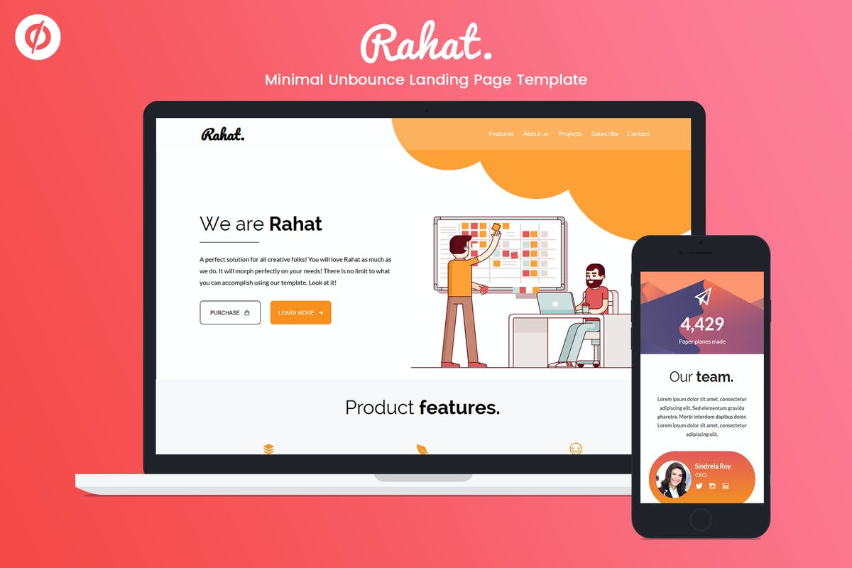 Download Minimal Unbounce Landing Page Template - Rahat by ILMThemes by Unknow