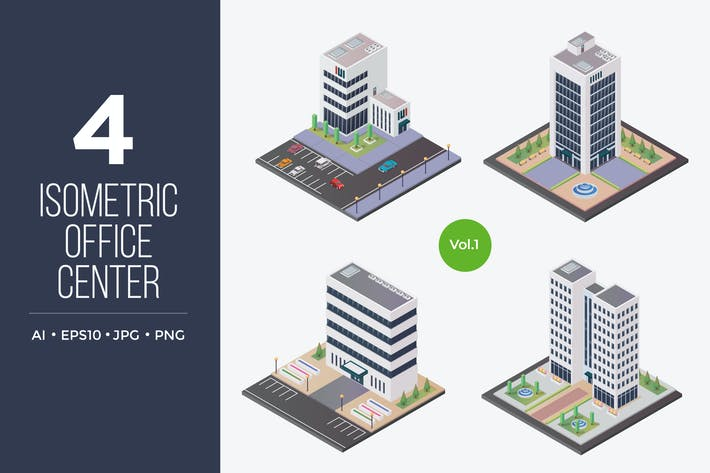 Thumbnail for Isometric Office Center Vector Set 1