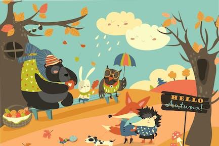 Animales lindos caminando en el Bosque de otoño