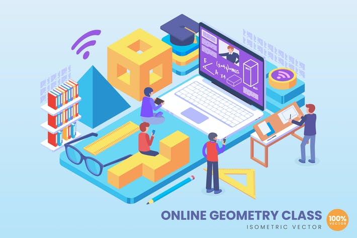 Thumbnail for Isometric Online Geometry Class Concept